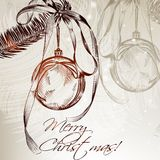 Hand drawn Christmas card with fur branch and bauble in vintage Royalty Free Stock Photography