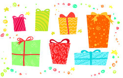 Hand drawn Christmas card with gift boxes. Royalty Free Stock Image