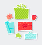 Hand drawn Christmas card with gift boxes. EPS10 Stock Photo