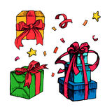 Hand drawn Christmas card with gift boxes. Line art Royalty Free Stock Photo