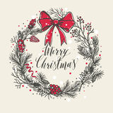 Hand drawn christmas card. New year trees with confetti. Royalty Free Stock Photo
