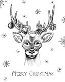 Hand drawn Christmas card Royalty Free Stock Photography