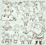 Hand drawn Christmas characters and elements Royalty Free Stock Photography