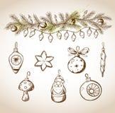Hand drawn Christmas decorations Stock Photos