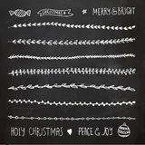 Hand Drawn Christmas Decorative Elements, Doodles and Borders. Freehand drawing Stock Photos