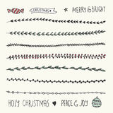 Hand Drawn Christmas Decorative Elements, Doodles and Borders Royalty Free Stock Photo