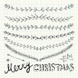 Hand Drawn Christmas Decorative Elements, Doodles and Borders. Vector Illustration. Freehand drawing Royalty Free Stock Image
