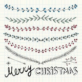 Hand Drawn Christmas Decorative Elements, Doodles and Borders Stock Image