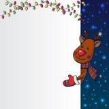Hand drawn Christmas Deer holding banner Stock Image