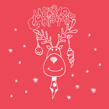 Hand drawn Christmas deer with New Year's spheres on a red backg. Round. Christmas invitation. Greeting card. Vector illustration stock illustration