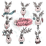 Hand drawn Christmas deer set on a white background. Vector illu. Stration royalty free illustration
