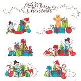 Hand-drawn Christmas design elements. Royalty Free Stock Photo
