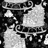 Hand drawn Christmas doodle sketch sledge Royalty Free Stock Photos