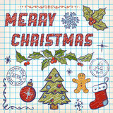 Hand-Drawn Christmas Doodles. Lettering Royalty Free Stock Photos