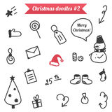 Hand-drawn Christmas doodles  on white background. Winter stuff doodle, sketch Royalty Free Stock Images