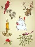 Hand drawn Christmas elements stock photo