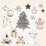 Hand drawn christmas elements. Collection of hand drawn chrismas elements Royalty Free Stock Images