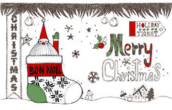 Hand drawn Christmas elements D Stock Images