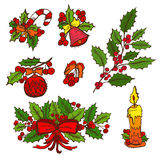 Hand drawn christmas elements. Hand drawn decorative christmas decorations set, design elements. Can be used for cards, invitations, gift wrap, print Stock Image