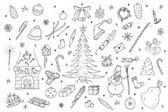 Hand drawn christmas elements set. Vector illustration in doodle style Stock Images