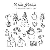 Hand Drawn Christmas Elements Set. Winter Holidays Stock Photography