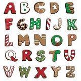 Vector illustration of Christmas cookies alphabet on white background. Hand drawn Christmas gingerbread cookies alphabet on white background Royalty Free Stock Images