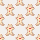Hand drawn christmas gingerbread man cookies. Hand drawn christmas gingerbread man and candy cane cookies seamless pattern. Holiday food background. Vector Royalty Free Stock Photography
