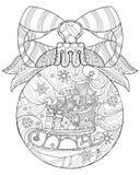 Hand drawn Christmas glass ball doodle sketch Stock Image