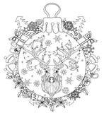Hand drawn Christmas glass ball fir tree doodle Royalty Free Stock Photos