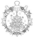 Hand drawn Christmas glass ball fir tree doodle Stock Image