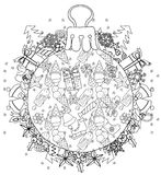 Hand drawn Christmas glass ball fir tree doodle. Sketch ice cream pattern . Ice cream, gift boxes,  Christmas tree. Vector illustration isolated Royalty Free Stock Photos