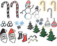 Hand drawn christmas graphics Royalty Free Stock Images