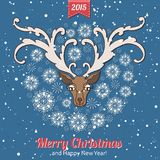 Hand drawn Christmas greeting card with a cute. Deer and snowflakes. Vintage Christmas greeting card royalty free illustration