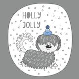 Cute dog winter holidays greeting card Stock Photo