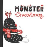 Cute and funny Christmas monster Royalty Free Stock Images