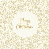 Hand drawn Christmas Greeting card. Christmas greeting card. Isolated hand drawn design elements and `Merry Christmas` text in the middle. Vector illustration Stock Photography
