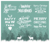 Hand drawn Christmas and Happy New Year decoration Stock Photography