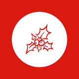 Hand drawn Christmas icon, red line, isolated in white Stock Photos