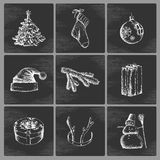 Hand drawn Christmas icons Royalty Free Stock Photos
