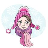 Hand-drawn illustration of happy little girl Royalty Free Stock Image