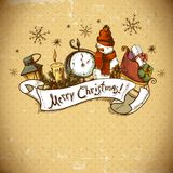 Hand-drawn Christmas Invitation Card Royalty Free Stock Photos