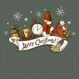 Hand-drawn Christmas Invitation Card Royalty Free Stock Images