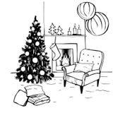 Hand drawn Christmas living room. stock illustration