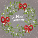 Christmas mistletoe wreath with red ribbons. Vector illustration on grey background with snow Stock Image