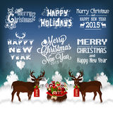 Hand Drawn Christmas And New Year Decoration Set Of Calligraphic And Typographic Design Stock Photography