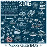 Hand Drawn Christmas And New Year Decoration Set. Vector illustration royalty free illustration