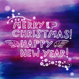 Hand drawn Christmas and New Year greeting card Royalty Free Stock Images