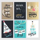 Hand drawn Christmas and New Year greeting cards Stock Image