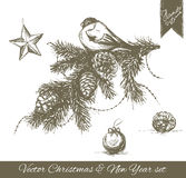 Hand drawn Christmas and New year set. Hand drawn pictures on white background Royalty Free Stock Photo