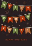 Christmas card. Holiday flags. Hand drawn Christmas and New Year vector elements. This illustration can be used as a greeting card, poster or print Royalty Free Stock Photo